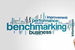 Benchmarking word cloud Stock Photos