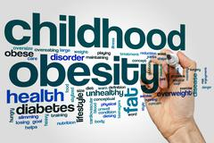 Childhood obesity word cloud - stock photo