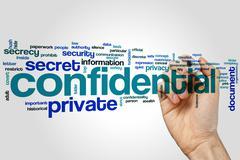 Confidential word cloud Stock Photos