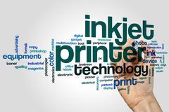 Inkjet printer word cloud - stock photo