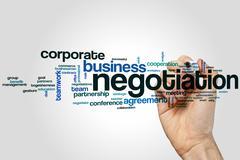 Negotiation word cloud - stock photo