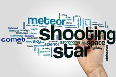 Shooting star word cloud - stock photo