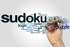 Sudoku word cloud - stock photo