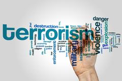 Terrorism word cloud - stock photo
