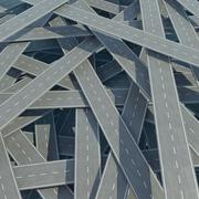 Traffic congestion, tangled road, top view. 3d illustration - stock illustration