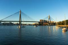 ANZAC bridge and Sydney CBD cityscape Stock Photos