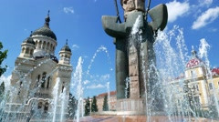 Sparkling Fountain in the city of Cluj in Romania Stock Footage