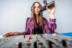 Dj working on the radio Stock Photos