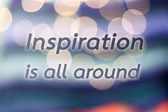 Inspirational quote on colorful bokeh background - stock photo
