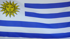 Uruguay Flag real fabric Close up 4K Stock Footage