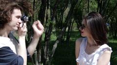 Happy Couple photo, shoot in park city, slow motion, 4K, UHD, UltraHD - stock footage