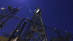 3axis MoCo Time Lapse of Broadcasting Radio Tower on Full Moon -Zoom Out- Stock Footage