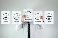 Weekly work emotion - stock photo