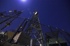 5K 3axis MoCo Time Lapse of Broadcasting Radio Tower on Full Moon Stock Footage