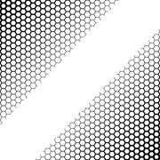 Background with gradient of black and white hexagons Stock Illustration