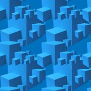 Abstract seamless pattern with overlapping blue cubes Stock Illustration