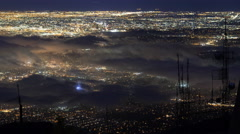 Time Lapse Overview of Foggy LA City Lights -Pan Left- Stock Footage