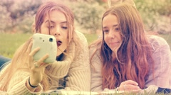 Gen z young woman friends using insta polaroid camera to take selfie photos Stock Footage