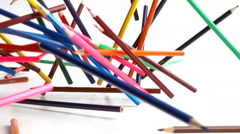 Colouring pencils falling in slow motion Stock Footage