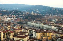 aerial view Turin italy vittorio veneto monte cappuccini santa madre church - stock photo