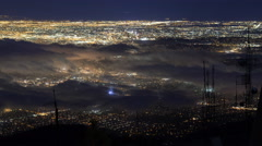 Time Lapse Overview of Foggy LA City Lights  Stock Footage