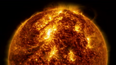 Solar activity. The flash in the sun or solar flare. Stock Footage