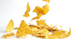 Falling Nachos in slow motion. Stock Footage