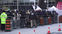 "Security and K9 team at the Maple Leafs Square ""Jurassic Park"" Toronto Stock Footage"