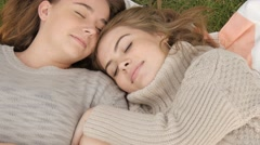 Close girlfriends hug sharing moment of love and respect cuddle Stock Footage