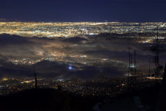 6K Time Lapse Overview of Foggy LA City Lights  Stock Footage