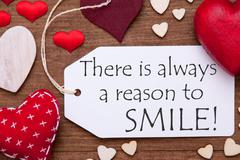 One Label, Red Hearts, Always Reason To Smile, Macro Stock Photos