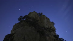Astrophotography Time Lapse of Stars over Giant Boulder -Zoom Out- Stock Footage