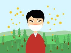 A man wearing a medical mask in trouble with the cedar pollen allergy in spri Stock Illustration