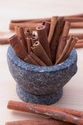 Cinnamon fragrant strike to food dishes, desserts and drinks. To add to the e Stock Photos
