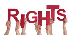 Many People Hands Holding Red Word Rights - stock photo