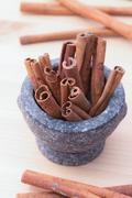 Cinnamon fragrant strike to food dishes, desserts and drinks. To add to the e - stock photo