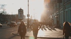 People walking along Nevsky Prospekt Stock Footage