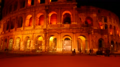 The Colosseum of Rome at night Stock Footage