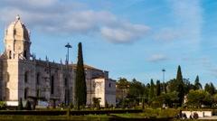 Jeronimos Monastery in Lisbon, Portugal Stock Footage