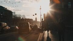 People walking along Nevsky Prospekt Stock Footage