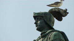Statue of King John I in Figueira Square, Lisbon Stock Footage