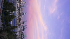 Time Lapse of Colorful Sunset Afterglow at Port of LA at Twilight -Pan/Vertical- Stock Footage