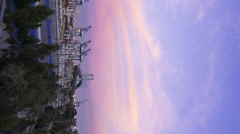 Time Lapse of Colorful Sunset Afterglow at Port of LA at Twilight -Vertical- Stock Footage