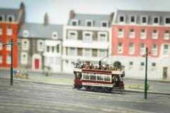 miniature model tramway - stock photo