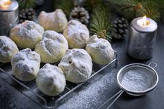 Walnuts Cookie sprinkled with powdered Sugar Stock Photos