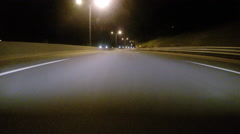 GoPro attached to bumper of car at night - 56 - stock footage