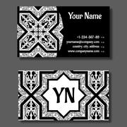 Business card template, black and white vitage design Stock Illustration