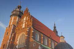 West end and tower of Corpus Christi Church, Kazimierz district, Kraków, Pol Stock Photos
