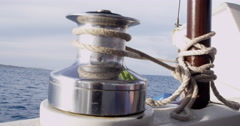 4K: Boat Spool Shot From Boat/Sailing Stock Footage