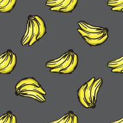 Vector banana seamless pattern. Modern texture. Repeating endless abstract ha Stock Illustration